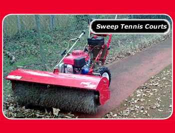 power sweeper to remove snow from sports pitch