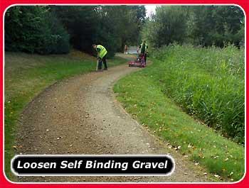 power rake for loosening self binding gravel