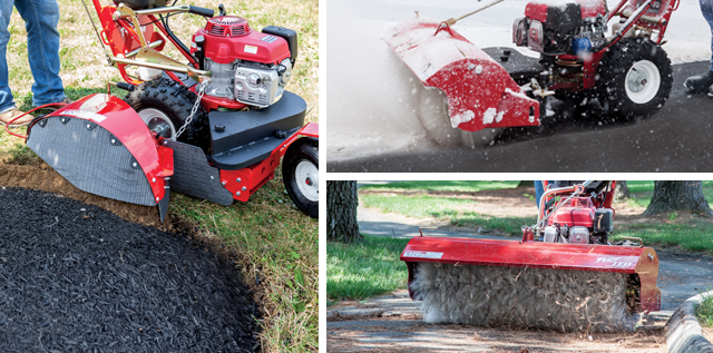 power edger, snow broom and path broom